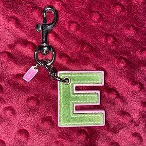 "Coach ""E"" Letter Key Chain"